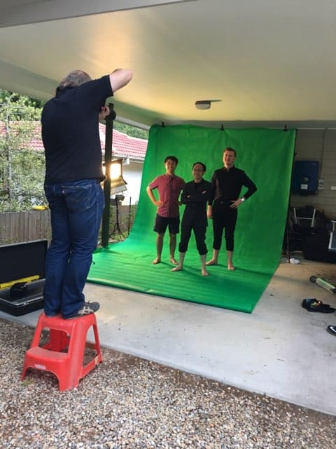 James with green screen